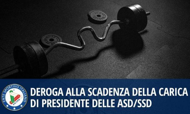 Deroga alla scadenza della carica di Presidente delle ASD/SSD