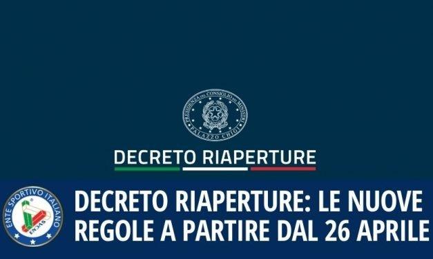 Decreto Riaperture: le nuove regole a partire dal 26 aprile